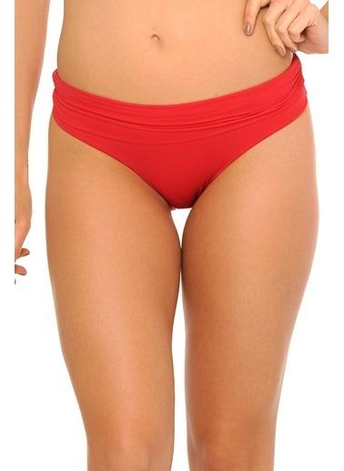Reflections Mix Match Katlanılabilir Düz Yüksek Bel  Bikini Alt Kırmızı